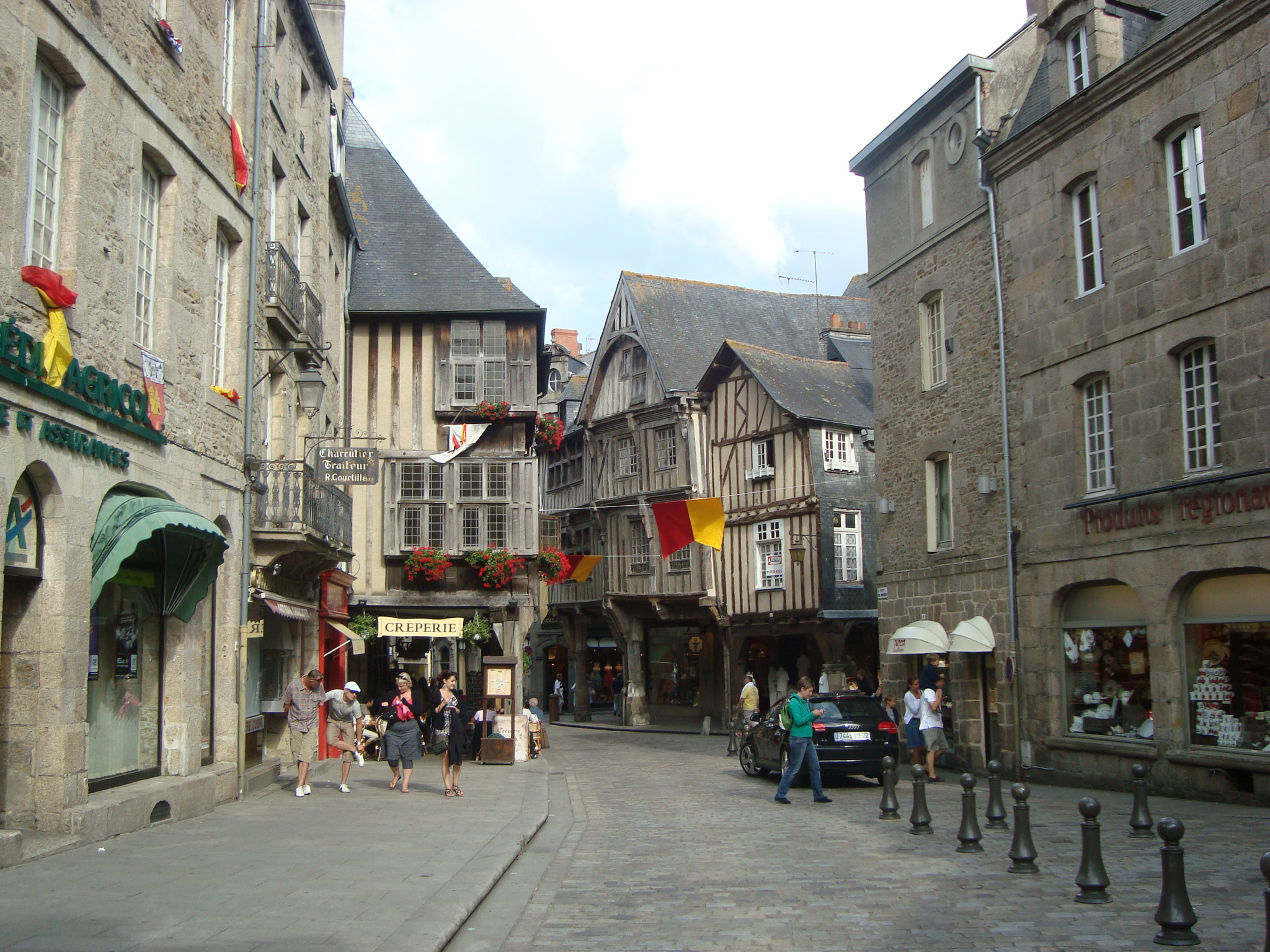 Dinan France  city images : charming medieval street in the township of Dinan, France