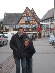 That's me with my son in Eguisheim - trying to keep warm!!